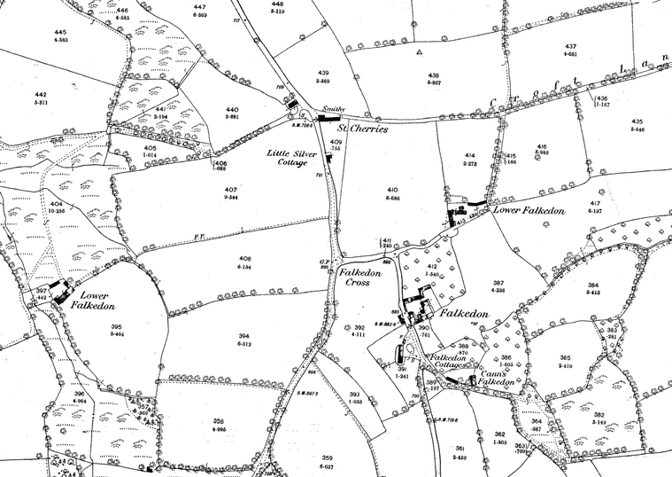Extract from the 1888/9 Ordnance Survey map showing the different buildings at Falkedon